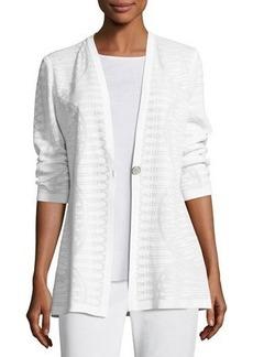 Misook Textured Stripe-Knit Long Jacket
