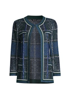 Misook Mixed Plaid Jacquard Knit Jacket