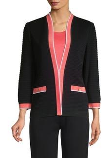 Misook Ottoman Rib Contrast Trim Jacket