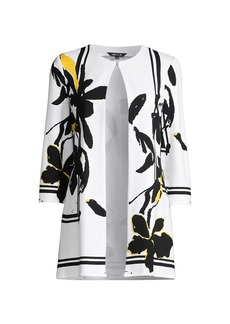 Misook Painted Floral Knit Jacket