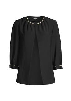 Misook Pearl-Trim Crepe Jacket