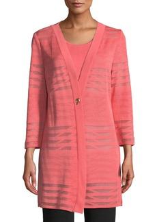 Misook Petite Subtle Striped Long Jacket