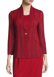 Misook Petite Subtly Sheer Textured Single-Button Jacket