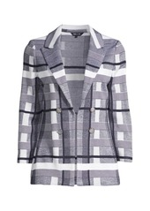 Misook Plaid Double-Breasted Knit Blazer