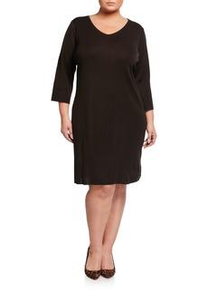 Misook Plus Size 3/4-Sleeve V-Neck Dress
