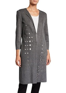 Misook Plus Size Grommet Long 3/4-Sleeve Jacket