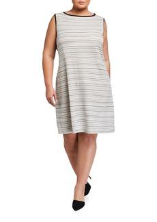 Misook Plus Size Neutral Striped Sleeveless Sheath Dress