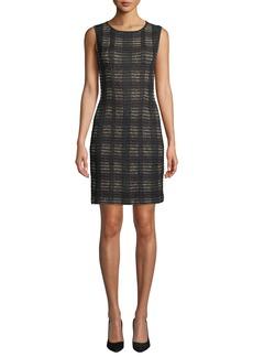 Misook Plus Size Sleeveless Plaid Knit Dress