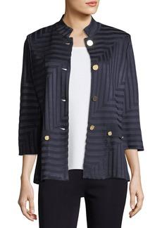 Misook Plus Size Subtle Lines 3/4-Sleeves Jacket