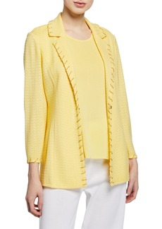 Misook Plus Size Textured Notch-Collar Jacket with Trim Detail