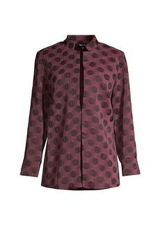 Misook Polka Dot Pleated Woven Jacket