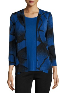 Misook Ribbed Bracelet-Sleeve Jacket  Lyons Blue/Black
