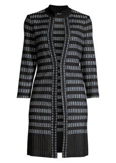 Misook Ribbed Digital Pattern Knit Duster