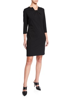 Misook Ruched Square-Neck 3/4-Sleeve Ponte Dress