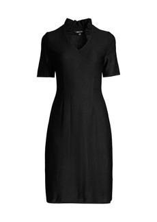 Misook Ruffle-Neck Sheath Dress