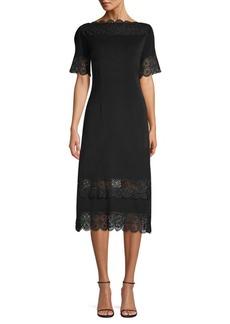 Misook Scalloped Lace Midi Dress
