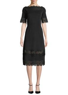 Misook Scalloped Lace-Trim A-Line Dress