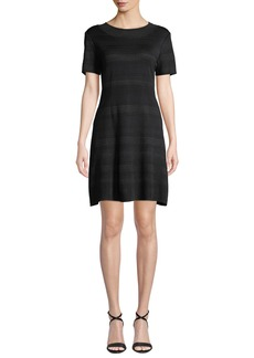 Misook Short-Sleeve Fit-&-Flare Paneled Dress