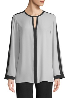 Misook Silky Keyhole-Front Blouse w/ Contrast Trim