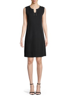 Misook Sleeveless Stud-Trim A-line Dress