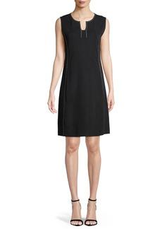 Misook Sleeveless Stud-Trim A-line Dress