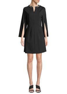Misook Slit-Sleeve A-Line Ponte Dress