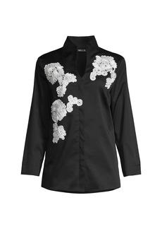 Misook Soutache Tailored Floral Blouse