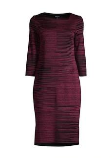 Misook Squareneck Melange Knit Sheath Dress