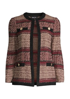 Misook Suede Look & Tweed Knit Jacket