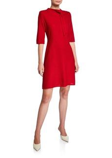 Misook Tie-Neck Elbow-Sleeve Dress