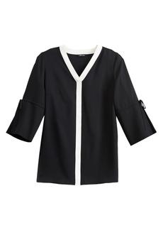 Misook Tie-Sleeve Crepe de Chine Blouse