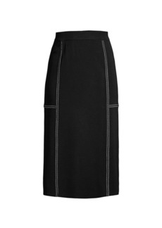 Misook Topstitched Mid-Length Skirt