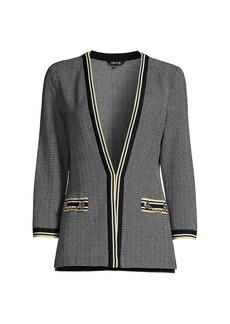 Misook Tweed Pattern Knit Cardigan Jacket