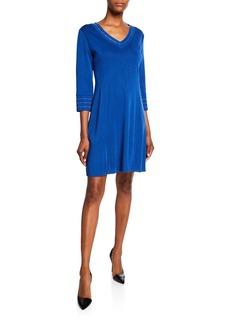 Misook V-Neck 3/4-Sleeve Knee-Length Dress
