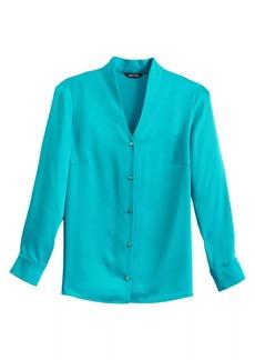 Misook V-Neck Button-Up Blouse