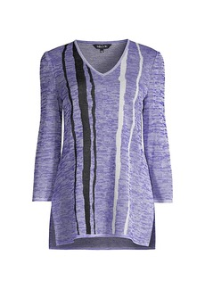 Misook Wavy Stripe Space-Dyed Knit Tunic
