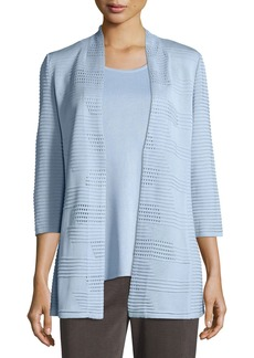 Misook WOMENS TEXTURED LONG JACKET