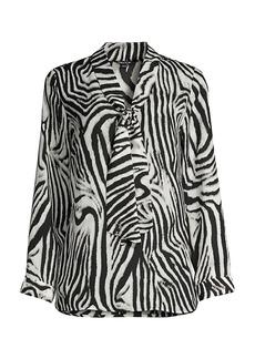 Misook Zebra-Print Blouse