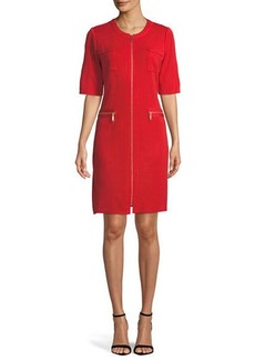 Misook Zip-Front Short-Sleeve Shirtdress