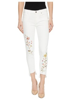 Miss Me Ankle Skinny Jeans w/ Embroidery in White
