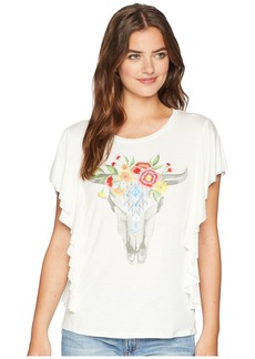 Miss Me Bull Skull Flower Embroidered Top