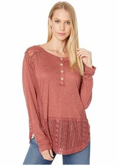 Miss Me Button Detail Lace Trim Long Sleeve Top