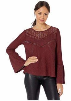Miss Me Chevron Lace Trim Bell Sleeve Knit Top