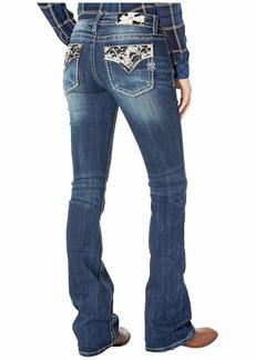 Miss Me Cow Hide Chloe Bootcut Jeans in Dark Blue