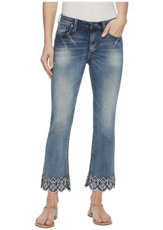 Miss Me Cropped Bootcut w/ Embroidered Hem in Medium Blue