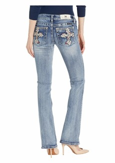 Miss Me Cross Low Rise Bootcut Jeans in Medium Blue