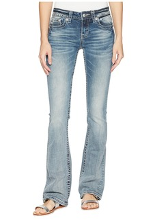 Miss Me Cross Wing Embellished Bootcut Jeans in Medium Blue