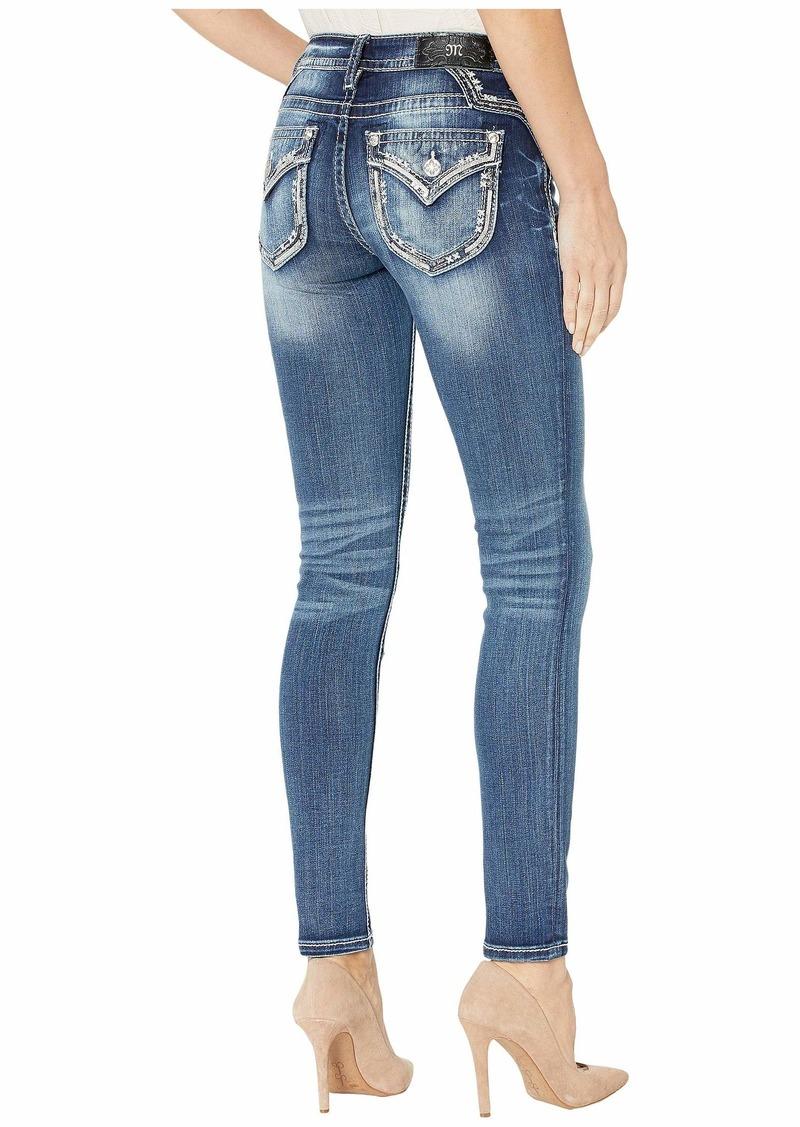 Miss Me Embellished Border Skinny Jeans in Dark Blue