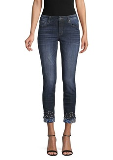 Miss Me Embellished Folded-Cuff Skinny Ankle Jeans