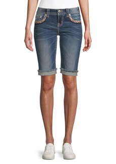 Embroidered Denim Bermuda Shorts